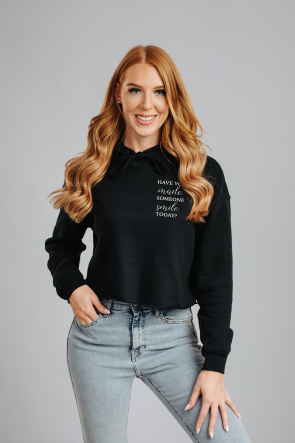 Smile Time Hoodie cropped Schwarz